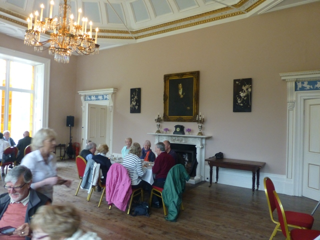 Tea, coffee and scones in the ballroom of Lissan House